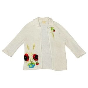 Vintage Embroidered Open Knit Cardigan - M